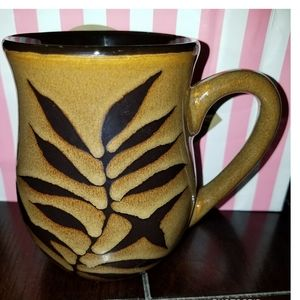 Pier 1 Imports brown with leaf print coffee mug